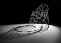 the joy of straight lines discovering curved space (Reflectory (Chris Brown)) Tags: abstract abstraction minimal minimalism landscape nopeople lines curves folds grid squares shadows black white gray blackandwhite bw monochrome blackbackground rolled wire mesh reflectory