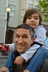 The dad-mobile (radargeek) Tags: monterey ca california farmersmarket shoulderride kid child dad toy car smile 2017 march