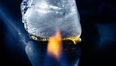 Fire 'N' Ice. (robdando) Tags: macromondays flame ice fire whisky