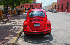 IMG_0301 Red VW (Cyberlens 40D) Tags: mexico yucatan valladolid red bug old cars redbug vws streets vehicles sunny hot cities towns sightseeing travel destinations