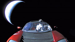 Starman Drives Away (sjrankin) Tags: 8february2018 edited spacex earth car suit dummy starman convertible tesla red primage crescent