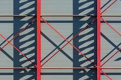 Red construction and shadowplay (Jan van der Wolf) Tags: map160118v construction shadow shadowplay red redrule lines playoflines interplayoflines lijnenspel lijnen shadows schaduw schaduwspel wall muur gevel facade industrial