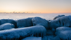 You're Cold (John Westrock) Tags: ice cold rocks lakemichigan wisconsin sunrise clearsky steam canoneos5dmarkiii canonef2470mmf28lusm midwest water milwaukee