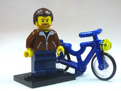 Brick Yourself Custom Lego Figure Nice Guy with Blue Bike