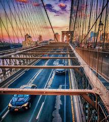 Looking Back (nixter) Tags: brooklyn brooklynbound brooklynbridge building americanflag bigapple bigcity bridge city downtown lines newyorkcity nyc sunset travel urban