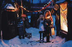 Night street I (AzureFantoccini) Tags: bjd abjd balljointeddoll street doll diorama outdoor night lights room dollhouse supia jiin granado emon ozin5 holidays winter snow eva chloe