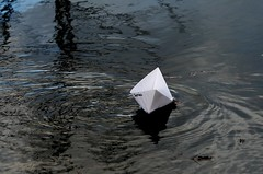 Day 170 - Paper boat on the water (Tiggy Savage) Tags: origami boat water float reflection delicate sadness jasmine paper