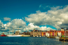 Colourful waterfront (Tony Shertila) Tags: cruise pig europe norway bergan waterfront houses buildings colours tallship schooner masts harbour boats transport sky clouds bergen hordaland nor