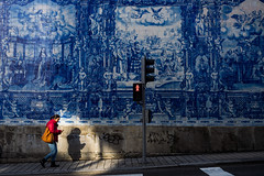 Chapel of Souls (AmirsCamera) Tags: chapelofsouls chapel souls porto portugal monument beautiful architecture design blue white red lady woman walking street streetphotography shopping light shadow city urban olympus omdem1 omd em1 colour color december 2017