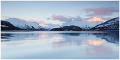 Sunset on Loch and Pap (rossifanmark) Tags: still highlands 5ds canon tranquility tranquil calm water blue pink sky sunset snow winter uk leven loch pap glencoe scotland
