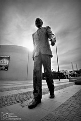 """""""It's a long walk to freedom"""" - Nelson Mandela. His statue next to the Omniversum in The Hague, Netherlands. (Luke Hermans Photography) Tags: nelson mandela madiba statue hague den haag omniversum netherlands nederland sun wide angle lens statues standbeeld standbeelden"""