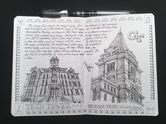 Entry No 10 - The Sketchbook Project 2018 - Tech Tower (schunky_monkey) Tags: journal sketchbook sketching sketch drawing draw penandink ink pen fountainpen illustrator illlustration art classical traditional victorian icon tower architecture building school campus georgia atlanta georgiatech techtower