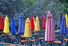 Color Among the Redwoods (AntyDiluvian) Tags: california coast bigsur highway highway1 inn restaurant riverinn patio umbrellas colorful bigtrees