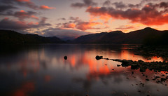 Derwentwater Sunset (Andy Watson1) Tags: derwentwater sunset evening colour colourful sky lake district national park lakedistrictnationalpark cumbria england english uk united kingdom great britain british outdoor nature mountains fells reflection walla crag catbells castlecrag landscape photography light shadow shoreline silhouette longexposure canon canon70d rocks scenery countryside red orange