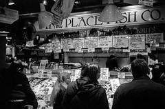 Pike Place Fish Co. (Rick Brandt) Tags: pikeplacefishcompany washington trix pikeplacemarket film olympusxa2 olympusxa blackandwhite seattle d76 unitedstates us
