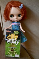 Blythe A Day February 10: Delicious (Nina A. J. G.) Tags: blythe blythedoll doll frfr friendlyfreckles pocky japanese thai matcha greentea food delicious snack