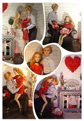 Valentine collage - photostory (Mary (Mária)) Tags: barbie mattel look fashion valentine´sday red heardňt diorama 16 miniatures love xoxo integritytoys barefootinthepark interior tag game romantic photography dollphotography dollcollector dollphotographer handmade fireplace candles rose photoshoot nataliavodianova kiss kissing marykorcek photostory