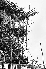 Hotel Scaffold (Rod Waddington) Tags: africa african afrique afrika äthiopien ethiopia ethiopian scaffolding scaffold hotel concrete wood wooden eucalyptus mekele mekelle blackandwhite monochrome mono outdoor construction building