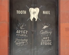 The Tooth and Nail Studio and Gallery (mikecogh) Tags: adelaide cbd logo studio gallery toothandnail doors entrance closed