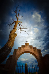 The Tree and The Arch (crowt59) Tags: san xavier del bac tucson arizona dramatic sky blue couds lr cuba premium photmorphis crowt59 nikon d810 light room arch tree dead cactus gate nikonflickraward