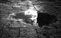 Clouds in the Street - Piran, Slovenia (TravelsWithDan) Tags: reflection puddle water cobblestone street clouds sky bw blackandwhite canong16 piran slovenia ngc