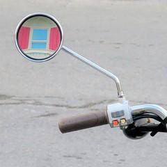 window on the world (jim_ATL) Tags: pink shutter window reflection mirror scooter minimal keywest florida