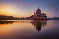 Glorious Sunrise at Putra Mosque, February 2018. (Nur Ismail Photography) Tags: putrajaya religion mosque islamic malaysia lake sunrise reflection asia architecture travel asian dome muslim landmark worship building water sky minaret islam tourism famous city masjid lumpur holy kuala prayer structure landscape blue culture ramadan nature colorful beautiful putra morning modern iron river architectural attraction east faith cloud colors scenic urban dawn