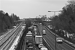 Clive Sullivan Way Monochrome (brianarchie65) Tags: traffic stuck railwaylines duelcarriageway hessle eastyorkshire monochrome blackandwhite blackandwhitephotos blackandwhitephoto colour canoneos600d geotagged brianarchie65 a63 trucks cars vans road