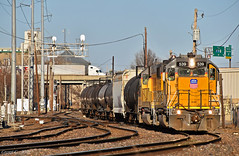"Westbound Transfer in Kansas City, MO (""Righteous"" Grant G.) Tags: up union pacific railroad railway locomotive emd power train trains transfer freight west westbound yard job kansas city missouri"
