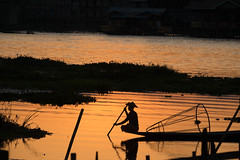 Sunset at Inle Lake (Kathy~) Tags: silhouette sunset inlelake myanmar fishman man burma water lake scape 15challengeswinner fotocompetition fotocompetitionbronze fotocompetitionsilver