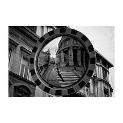 zagreb (s_inagaki) Tags: bw zagreb industar69 monochrome blackandwhite モノクロ 白黒 スナップ street bnw ザグレブ reflection crossing snap mirror ミラー walking