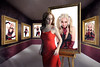 Harley Quinn Museum of Insanity (Davien Orion) Tags: clones clone multiplicity multiples museum paintings frames reddress photoshopelements photomanipulaction photomanipulation deviantart deviant harleyquinn insane art faestock conceptualphotography