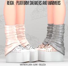 Reign.,- Platform Sneakers and Warmers (REIGN♥) Tags: reign teamreign secondlife shoes slink summer sneakers saturdaysale saturday tss maitreya mesh sneaker belleza body kenadee kenadeecole kenadeereign hourglass freya isis platform physique mainstore