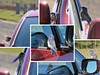 Two bluebirds trying to break into someone's car. (Ruby 2417) Tags: bluebird bird wildlife nature car breakin burglary weird strange peculiar odd funny silly goofy strangerthanfiction