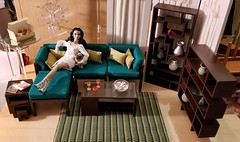 Randall Craig Living Room with Teal Cushion Set (JennFL2) Tags: randall craig home furnishings living room set 16 scale poppy parker fairest them all diorama mid century modern minatures pug