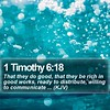 Daily Bible Verse - 1 Timothy 6:18 (daily-bible-verse) Tags: lead lessons dailyprayer motivationallockscreens