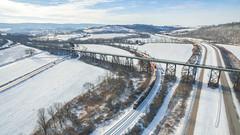 Western Maryland Salisbury Viaduct (benpsut) Tags: csx csxkeystonesub csxt csxt5285 dji djiphantom3 djiphantom3pro drone keystone q015 salisbury salisburyviaduct snow westernmaryland westernmarylandrailroad winter aerial aerialphotography doublestack dronephotography farm railroad trains