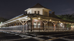 Ocala Union Station (finding_fl) Tags: canon canon70d 70d 2018 florida ocalaflorida marioncounty night longexposure trainstation traintracks transportation findingflorida building architecture architecturephotography 52weeksproject 0652 52weeksof2018 windows fence railing railroad rails canonef24105mmf4lisusm lglass nightphotography floridaphotography centralflorida centralfloridaphotography canonlove