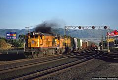 Old Smokey at East Midvale (jamesbelmont) Tags: unionpacific xpvog midvale utah ge c307 trackagerights grs signalbridge drgw riogrande