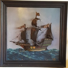 "3-D SHIP DIORAMA WALL PLAQUE.  $295. • <a style=""font-size:0.8em;"" href=""http://www.flickr.com/photos/51721355@N02/27920421969/"" target=""_blank"">View on Flickr</a>"