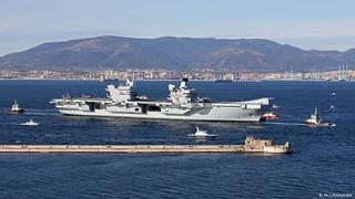 Royal Navy Aircraft Carrier HMS Queen Elizabeth (R08) sailing into Gibraltar Harbour on maiden visit to Gibraltar