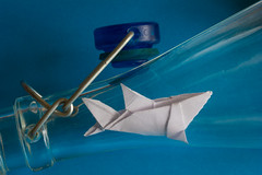 "Macro Mondays ""In a Bottle"" Great white shark (Janos Kertesz) Tags: macromondays inabottle paper origami white background blue isolated design art concept toy creative folded jaws greatwhiteshark derweissehai inderflasche"