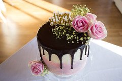 Drip (Five Second Rule) Tags: birthday cake decoration roses drip light shadow chocolate ganache pink colour flowers baking doublebarrel eat celebration