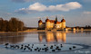 the duck pond (funtor) Tags: duck pond reflection castle light color germany moritzburg building ice winter frozen