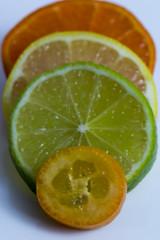 Citrus (Crisp-13) Tags: citrus kumquat lime lemon mandarin orange fruit slice stack pile