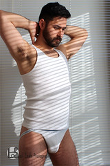 Patrick (Levi Smith Photography) Tags: underwear jock jockstrap shirt tank top armpit blinds shadow abstract beard hot handsome cute guy gay muscle hair hairy brunette fashion men mens man mans clothes pose