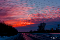 power ~ lines (mariola aga) Tags: winter morning sunrise sky clouds light glow road snow trees powerlines silhouette coth coth5 thegalaxy