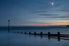 Dawlish Warren Beach (Les Cornwell Photos) Tags: devon dartmoor beach sunset longexposure moon seascape groyne evening dawlishwarren sea