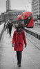 Red and Black (Jonathan Vowles) Tags: red black wind girl bridge london bus