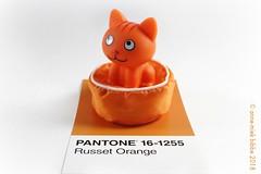 PANTONE 16-1255 Russet Orange OP WIT (Anne-Miek Bibbe) Tags: pantone161255 russetorange oranje orange arancione naranja laranja toy speelgoed plastic cat kat poes brinquedo gato kitty plástico juguete gatito plastica gattino gatto giocattolo kunststoff